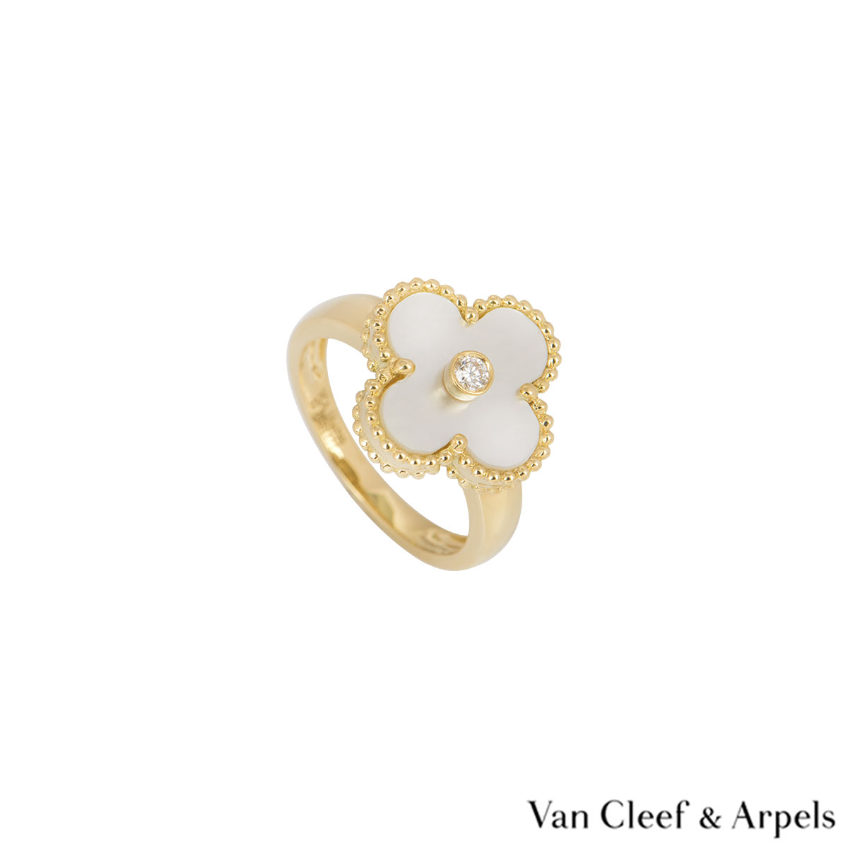 Van Cleef & Arpels Yellow Gold Diamond Alhambra Ring VCARA41100